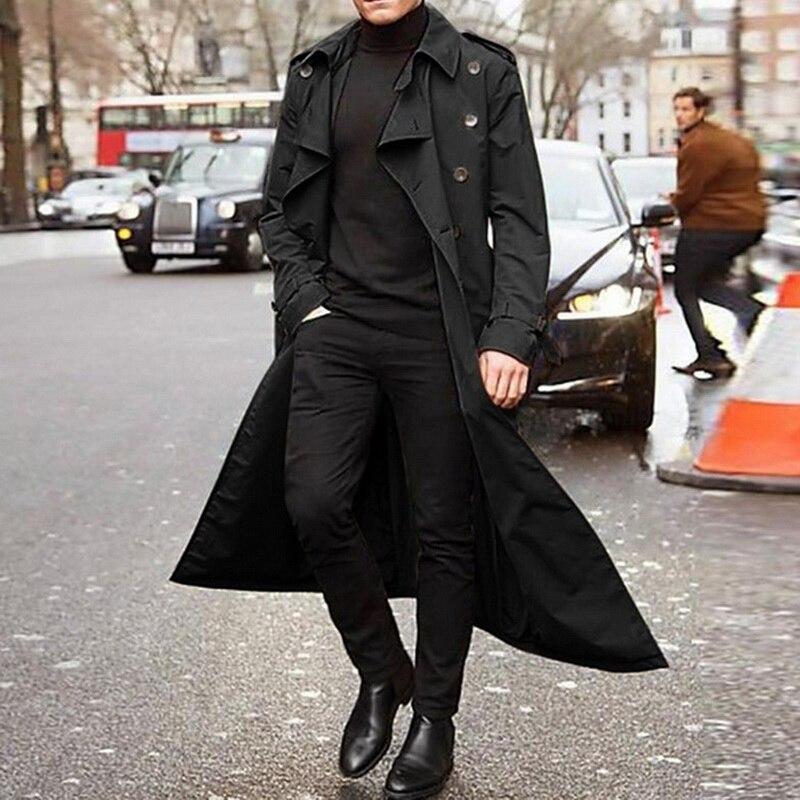 PUIMENTIUA Long Slim Men Trench Coat Double-breasted Lapel Windbreaker Male Fashion Autumn Winter Coat Long Design Trench Male