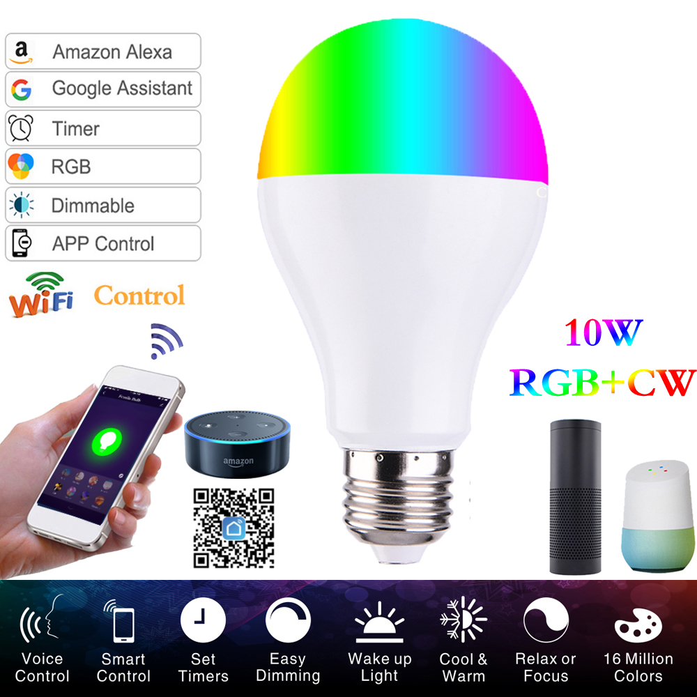 LED Bulb Smart Wifi Bulb Led Light RGBW 10W E27/E26/B22 APP Remote Control Color Adjustment Connect Amazon Alexa & Google Home