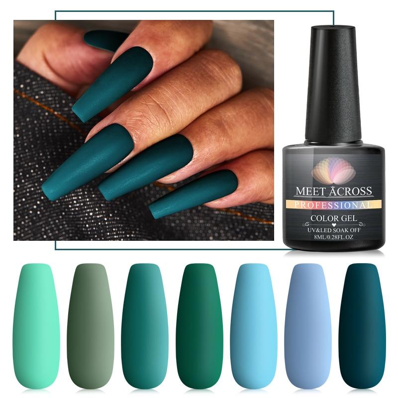 MEET ACROSS Green Matte Color UV Gel Nail Polish Pure Color Gel Matte Top Coat Soak Off Nail Art Gel Varnish Lacquer Manicure