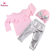 Pudcoco Toddler Kids Baby Girl Clothes Ruffles Long Sleeve P