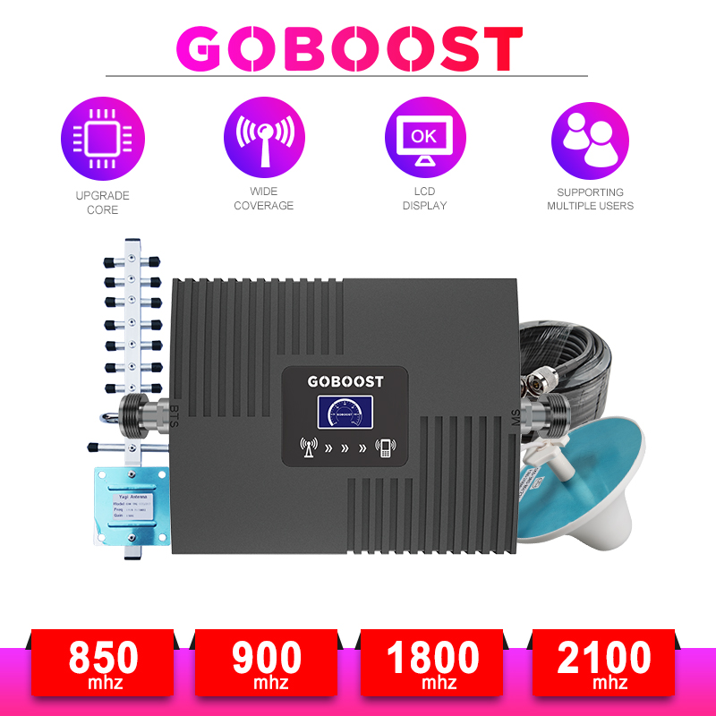 LTE 4G DCS Cellular Amplifier GSM Repeater 2G 3G 4G Cellular Signal Amplifier GSM 900 1800 2100 Mobile Signal Booster Repeater -