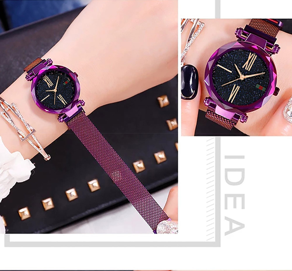 Luxury Minimalism Starry sky Magnet Rose Gold Women Watches 13