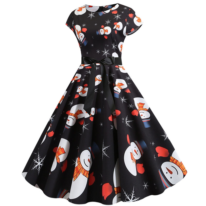 Women Christmas Party Dress robe femme Plus Size Elegant Vintage Short Sleeve Xmas Summer Dress Black Casual Midi Jurken Vestido 754