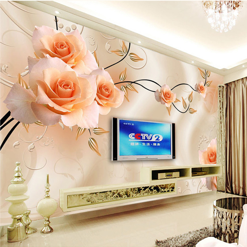 Large Mural 6d Stereo Wallpaper Background Of Television In The Drawing Room Wallpaper Bedroom Seamless Wall Cloth