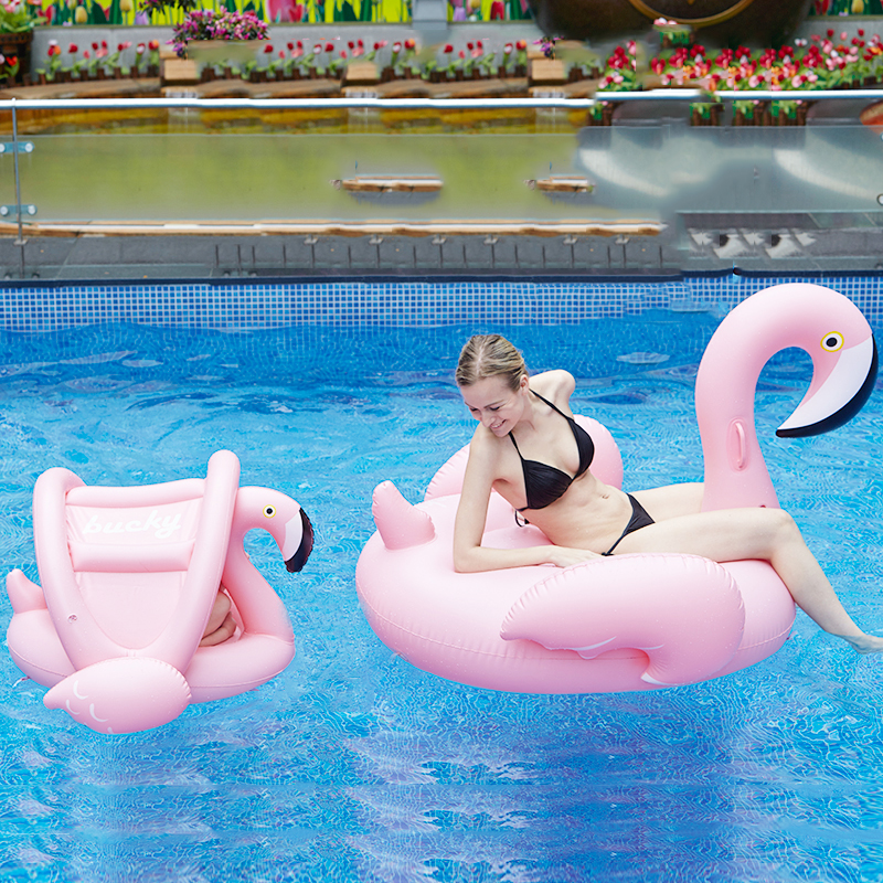 Inflatable Flamingo Pool Float Mother And Baby Kids Shade Flamingo Swim Float Circle Ring Kids Seat With Sunshade Swimming Pool