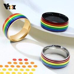 Vnox Unisex Rainbow linie pierścień klasyczny ze stali nierdzewnej Pride LGBTQ obrączka kobiety męska Finger Jewerly US rozmiar 7 - 12