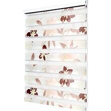 De moda impreso de doble capa cebra persianas de rodillo de ventana persianas sala dormitorio día persianas de noche de tamaño personalizado