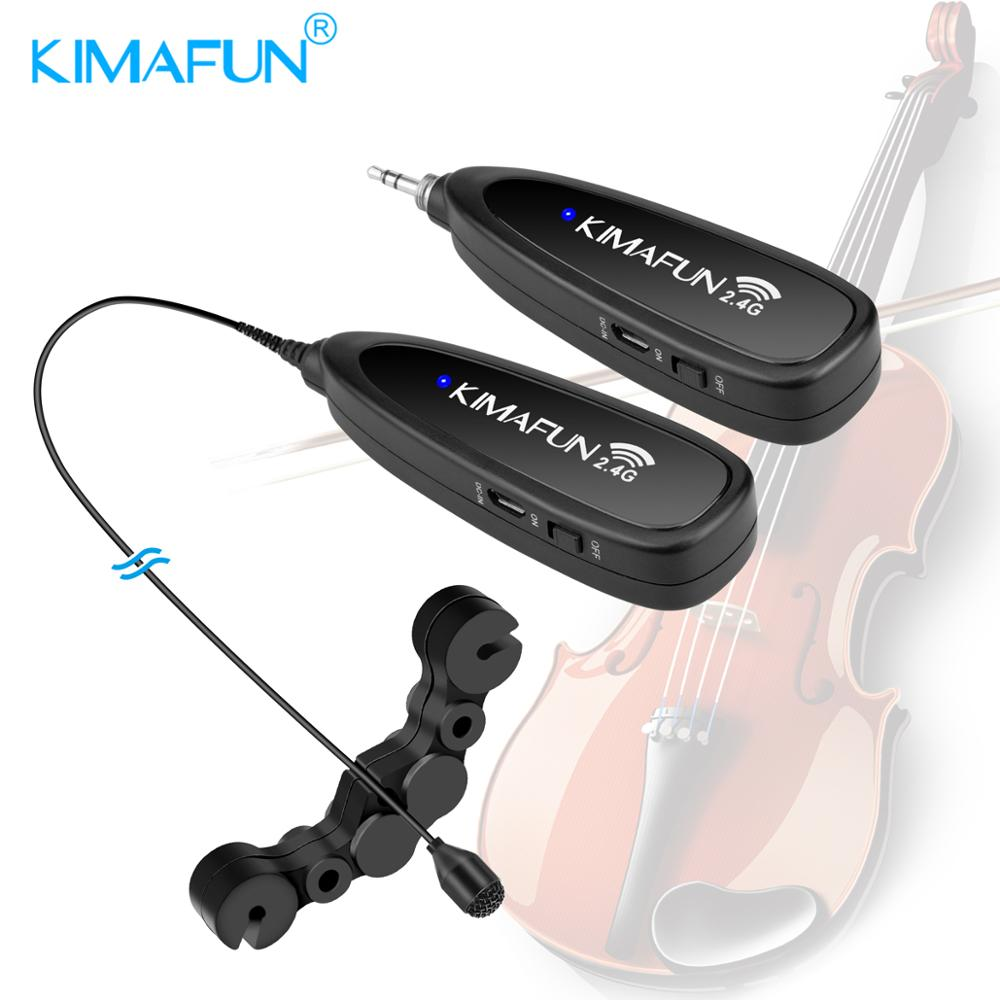 KIMAFUN KM-G150-6 2.4G Mini sans fil professionnel Instrument de musique condensateur Microphone système pour violon