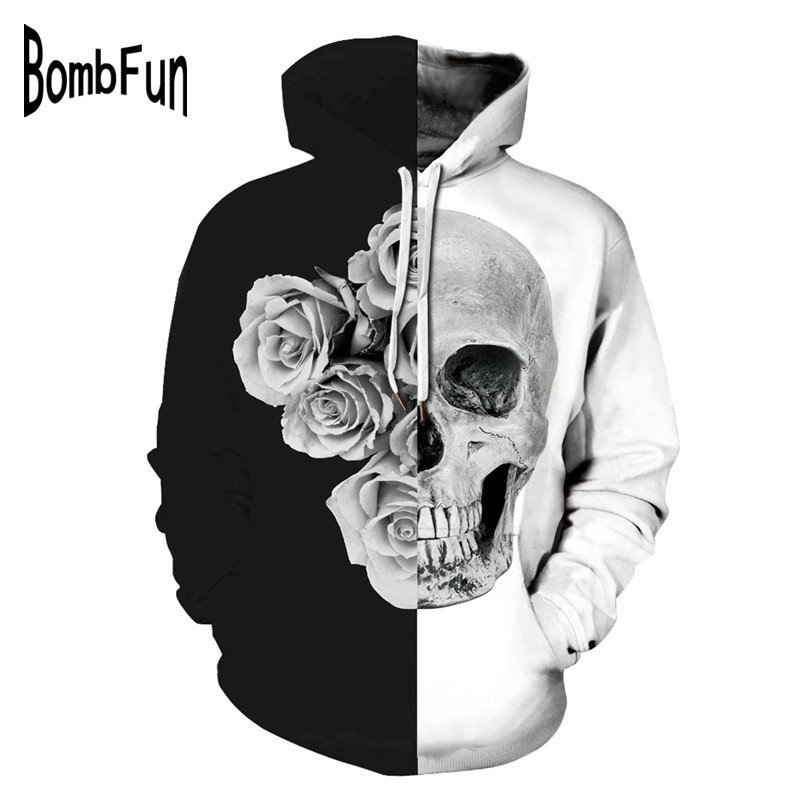 BombFun Men Hoodies 3d Print Skull Hoodies Men amp Women Sweatshirts High Quality Hoody Tracksuits Plus Size Tops Hip Hop Pullover in Hoodies amp Sweatshirts from Men 39 s Clothing