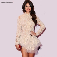 Celebrity dresses2019 new high neck 3D lace long sleeve ivory Ball Gown selena gomez red carpet dresses mini couture Gown