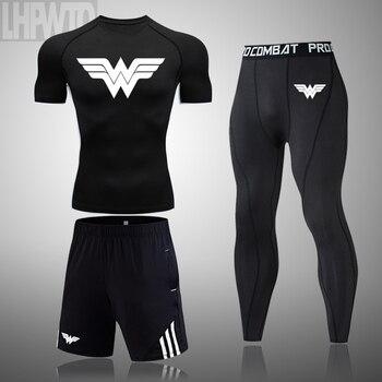Wonder Woman Men's full Suit Compression Sport Suit Gym joggers Running Short sleeve Shirts leggings Basketball sportwear 13