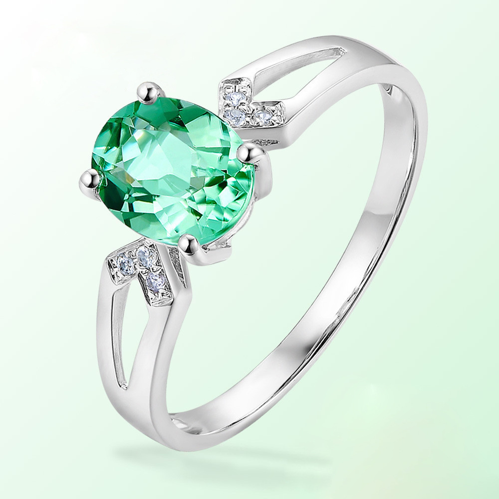 Natural Green Tourmaline Colored Gemstone Rings For Women 925 Sterling Silver Color AAA Zircon Finger Ring Wedding Fine Jewelry
