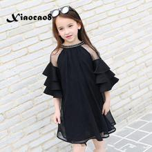 Girls clothing 6~16Years kids flare sleeve mesh dressses for girls summer princess dress girls black chiffon party dress