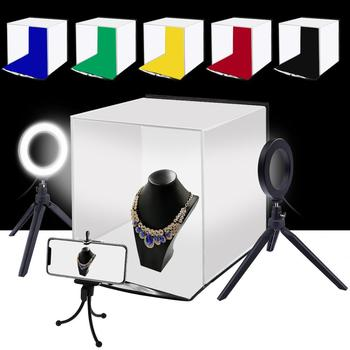 PULUZ 30cm Folding Portable Ring Light Photo Lighting Studio Shooting Tent Box Kit with 6 Colors Backdrops W/ head Mount