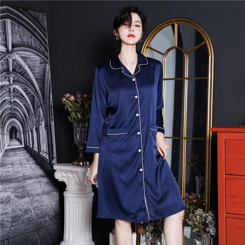 CAIYIER 2020 Silk Nightgown Sexy Lace Sleepwear Long Sleeve Turn-down Collar Night Dress Lingerie Bathrobe Gown Large Size M-3XL 1