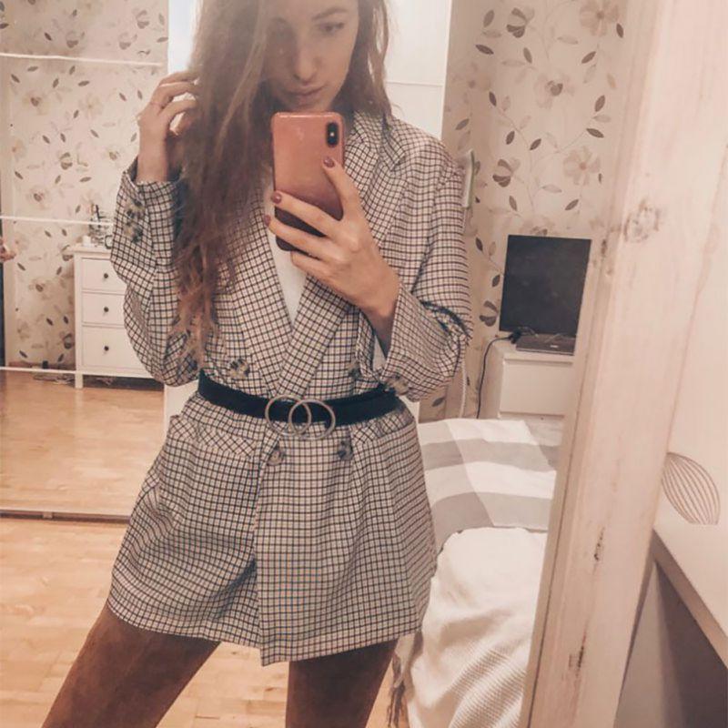 Women Blazer Casual Plaid Pattern Long Sleeve Blazers Street Style Coat Plus Size Droppingship