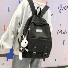 Black Oxford Backpack Women School Bags for Teenage Girls Back Pack Teen Bookbags Female Bagpack Student Preppy Backbag  New