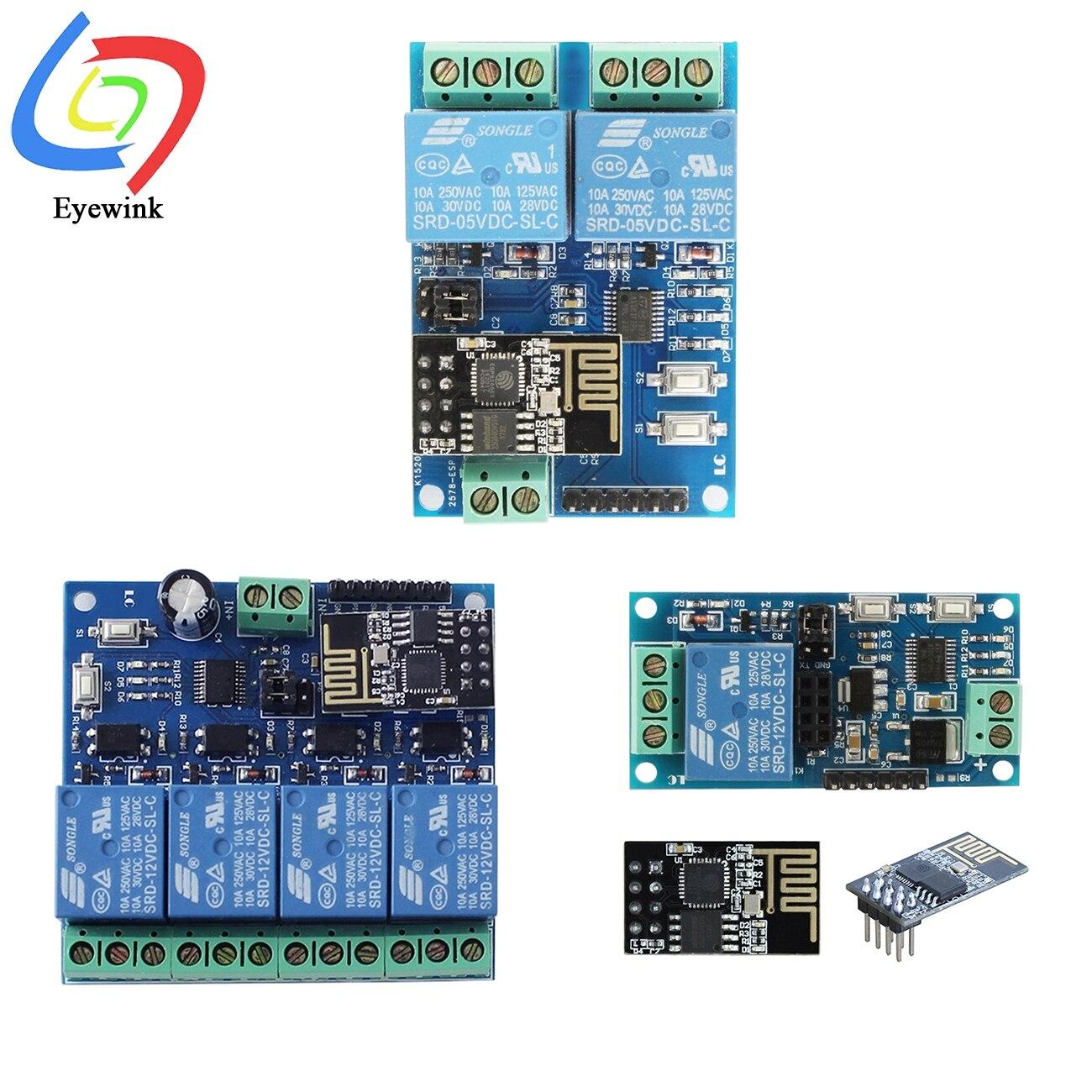 Esp8266 ESP-01 5v 12v 1 2 4 vias módulo de relé wi fi coisas casa inteligente interruptor controle remoto esp01 módulo sem fio wi-fi telefone app