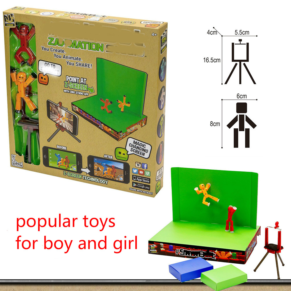 Quality Stikbot Toys Sucker DIY Sticky Robot Dog Cute Action Figure Kid Game Z Animation Studio Shed Make Life Style Motion Film