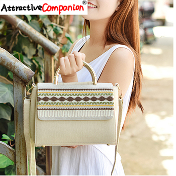 Women Handmade Ethnic Shoulder Handbag Featured Cotton Thread Chain Embroidery National Style Lady Brand Girl Crossbody Hand Bag