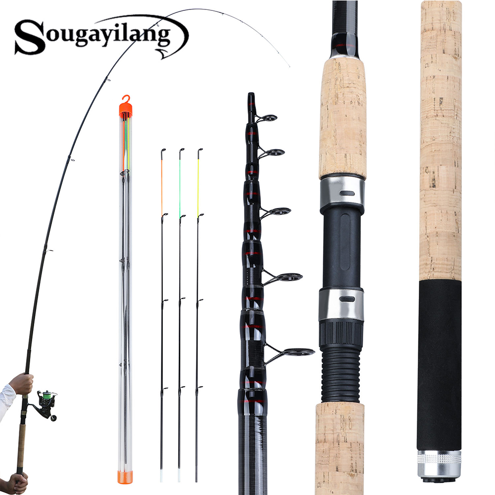 Sougayilang Portable 3.0-3.6m Feeder Fishing Rod L M H Power Spinning Casting Fresh Water Travel Rod De Pesca Carp Feeder Pole