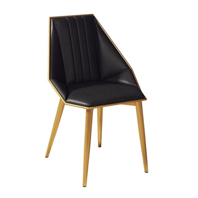 Ins Light Luxury Leather Art Dining Chair European Modern Simple Back Chair Restaurant Coffee Shop Upholstery Cushion Dining Cha