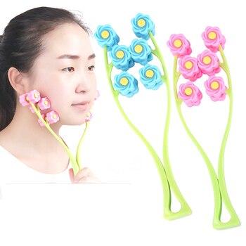 Роликовый массажер для лица в форме цветка против морщин