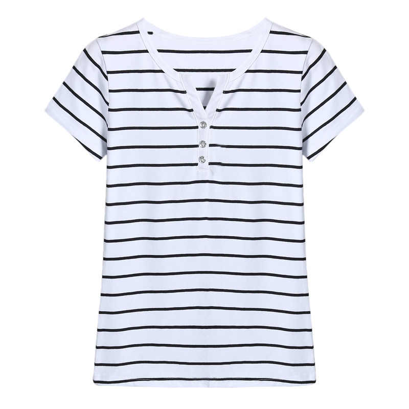 T Shirt Vrouwen 2020 Zomer Top Shirts V-hals Korte Mouw Casual T-shirts Wit Strip T-shirt Plus Size Katoenen T-shirt femme # T