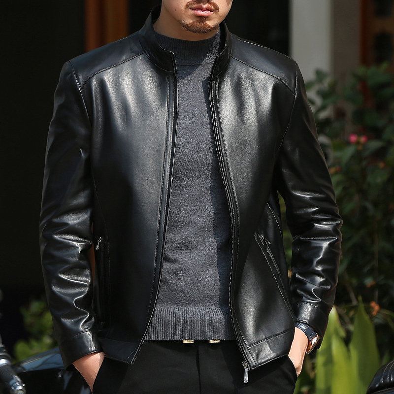 Genuine Leather Jacket Men Spring Autumn Real Sheepskin Coat Real Leather Stand Collar Jackets Jaqueta Couro BANG18JA1819 YY422