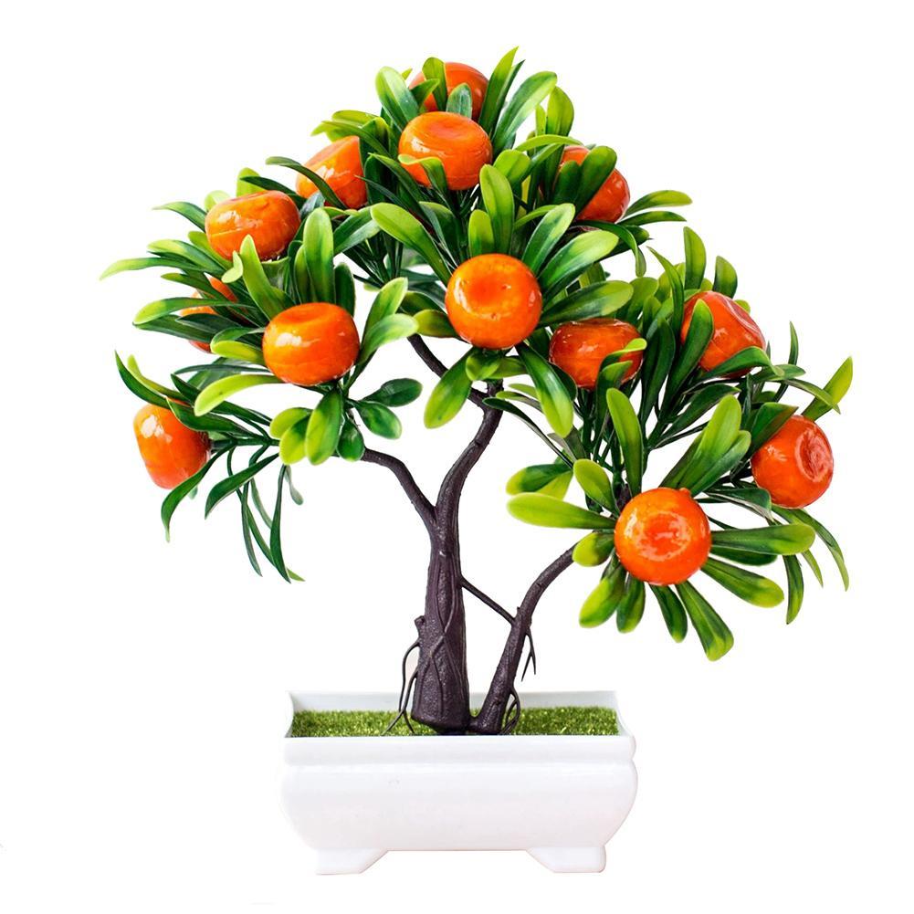 1Pc Artificial Fruit Orange Tree Bonsai Home Office Garden Desktop Pot Plants Party Decor For Hotel Garden Wedding Decoration