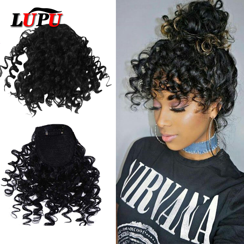 LUPU Fake Curly Fringe Bangs Clips In Hairpieces With Natural Black Heat Resistant Fiber Synthetic Hair Extensions For Women
