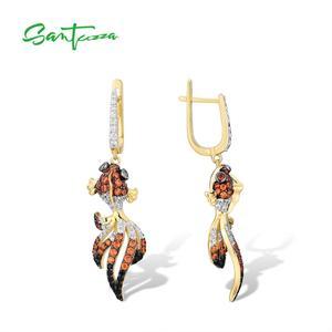 Image 3 - SANTUZZA Silver Gold Fish Earrings For Women 925 Sterling Silver Dangle Earrings Cubic Zirconia  brincos Jewelry