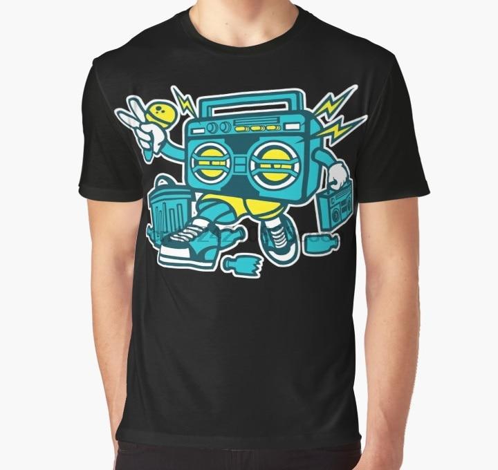 Lost Gods Graffiti Boombox Cat Mens Graphic T Shirt