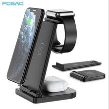 15W rápida cargador inalámbrico Qi 3 en 1 estación de carga para iPhone 12 11 XS Max XR X reloj de Apple iPhone 6 5 4 3 AirPods Pro Samsung S21