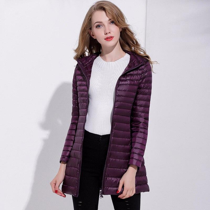 Winter Women Ultra Light Down Jacket 95% Duck Down Hooded Jackets Long Plus Size Warm Slim Coat Female Clothes LWL747