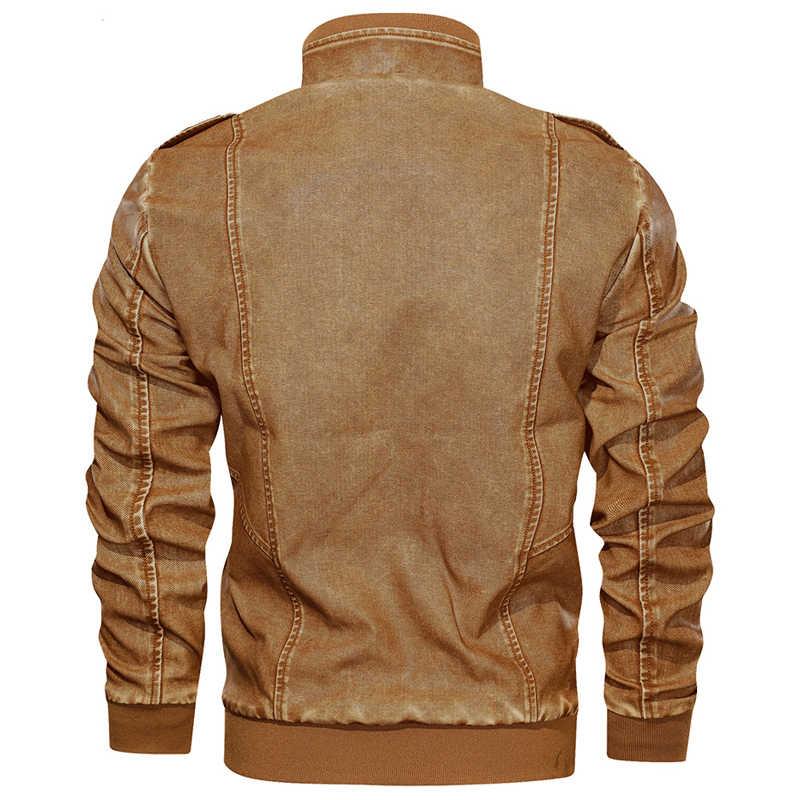 ヨーロッパとアメリカンスタイルのオートバイ男性のレザージャケットとコートベルベット 6XL 空気男の革のコート冬暖かいオーバー a917