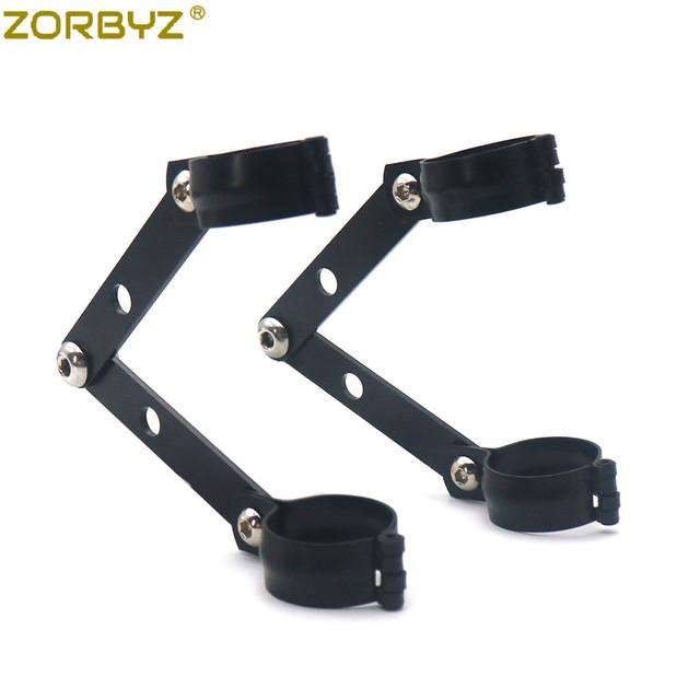 ZORBYZ 34mm-60mm Black Metal Adjustable Headlight Indicator Mounting Fork Bracket For Harley Cafe Racer Bobber Chopper Custom