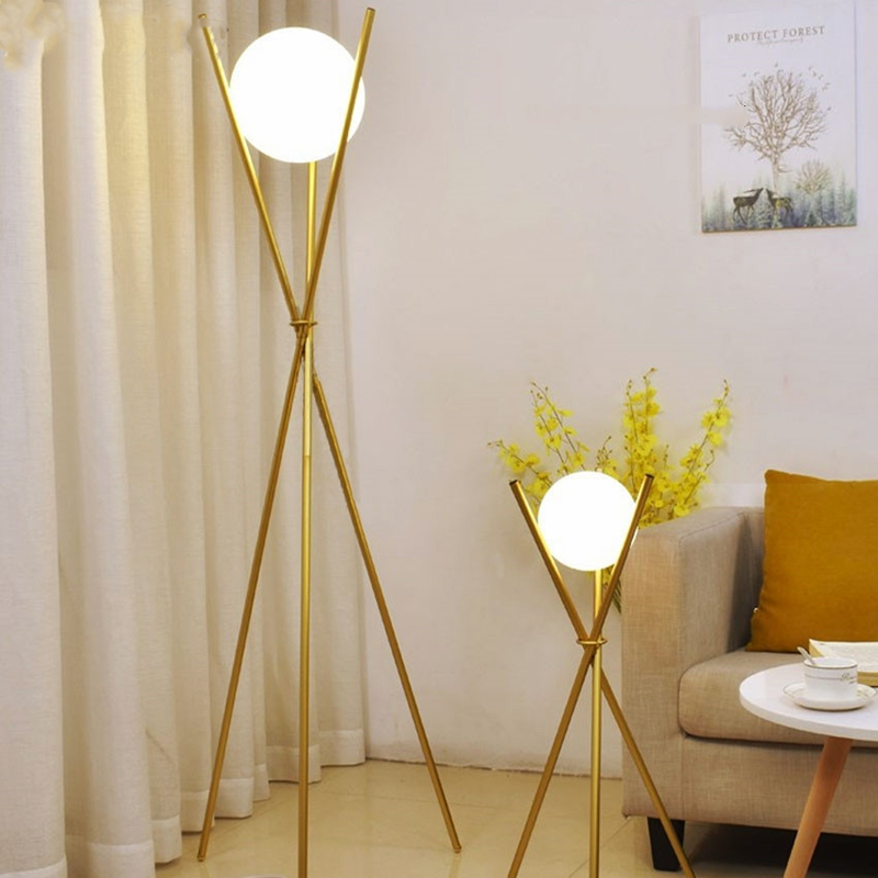 Nordic Modern Glass Ball Led Floor Lamp, Stand Lamps For Living Room