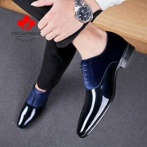 Image 1 - DECARSDZ Men Dress Shoes Men Wedding Fashion Office Footwear High Quality Patent Leather Comfy Men Formal Shoes Brand Men Shoes