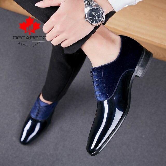 DECARSDZ Men Dress Shoes Men Wedding Fashion Office Footwear High Quality Patent Leather Comfy Men Formal Shoes Brand Men Shoes