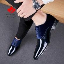 Decarsdz homens vestido sapatos de casamento moda calçados de escritório de alta qualidade couro patente confortável sapatos formais masculinos marca