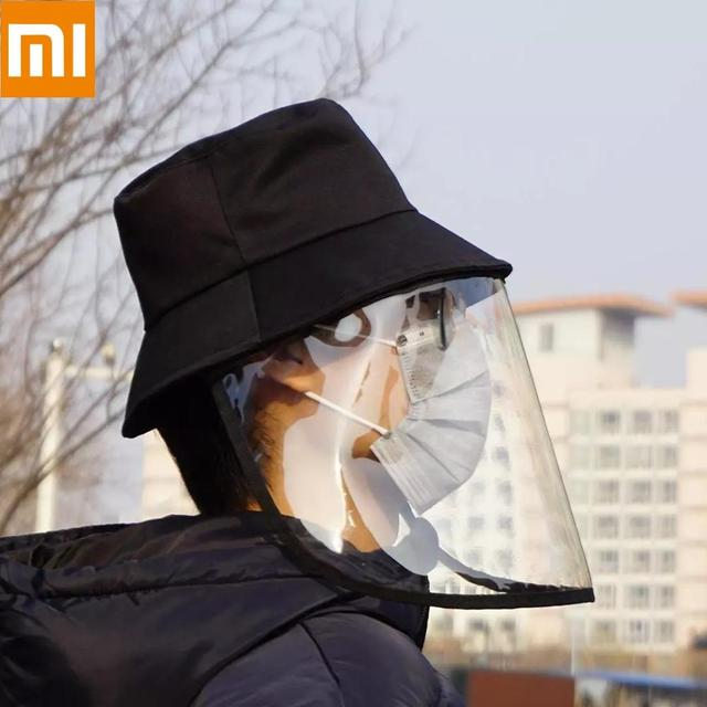 On stock Xiaomi Protective Face Shield Cover Hat Anti Spitting Saliva Drool Fisherman Cap with Detachable Clear mask kids adult