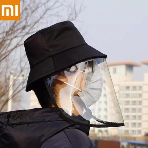 no estoque xiaomi protetor facial capa chapeu anti cuspir saliva drool pescador bone com destacavel