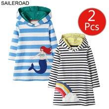 SAILEROAD 2 個ガールズスウェットパーカー子供のための長袖服秋の子供パーティードレスのコットンキッズフード付きのドレス