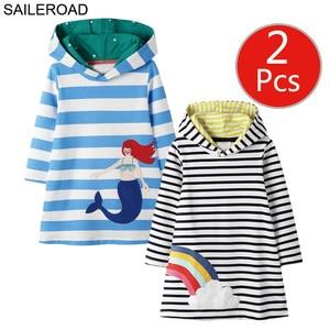 Image 1 - SAILEROAD 2pcs Girls Sweatshirts Hoodies Dress for Kids Long Sleeve Clothes Autumn Children Party Dress Cotton Kids Hooded Dress