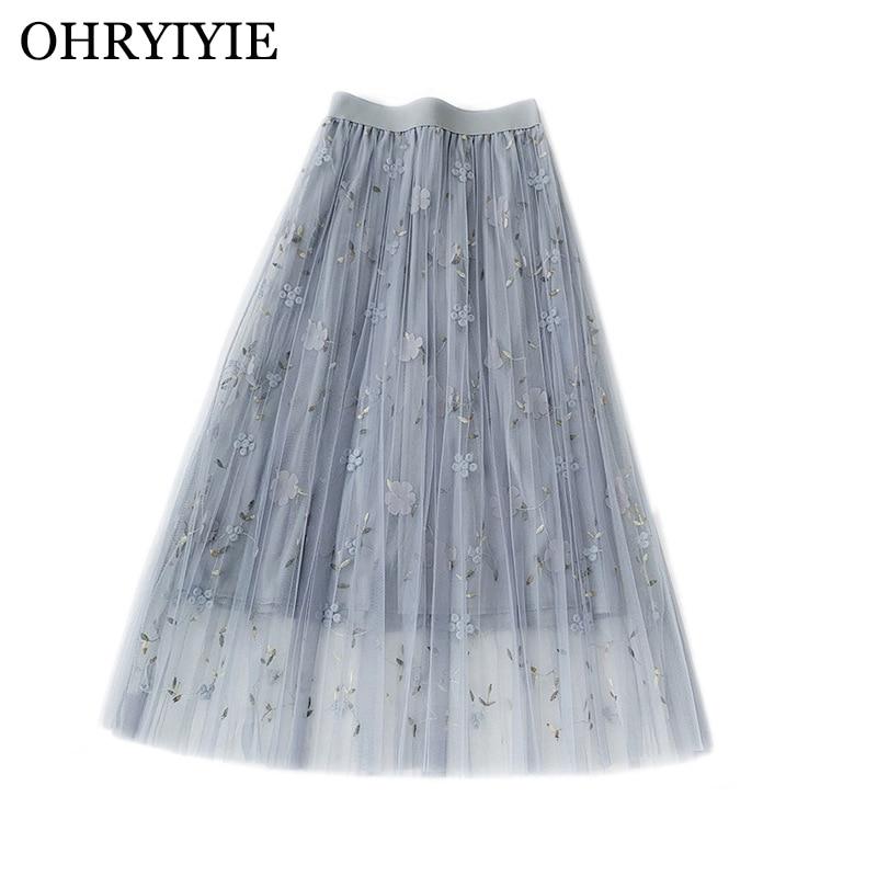 OHRYIYIE Floral Embroidery Tulle Skirt Women 2019 Summer High Waist Tulle Mesh Skirt Female Sweet A-line Skirt Jupe Longue Femme