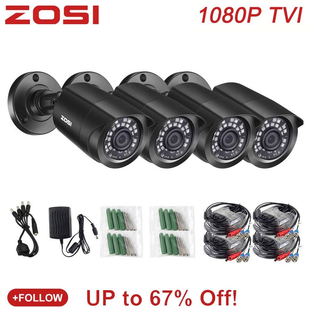 ZOSI 4 PCS Kugel 1080P TVI CCTV Video Wasserdichte Kamera IR Nightvision 2MP Fenster CCTV Sicherheit Kabel Cam für DVR System