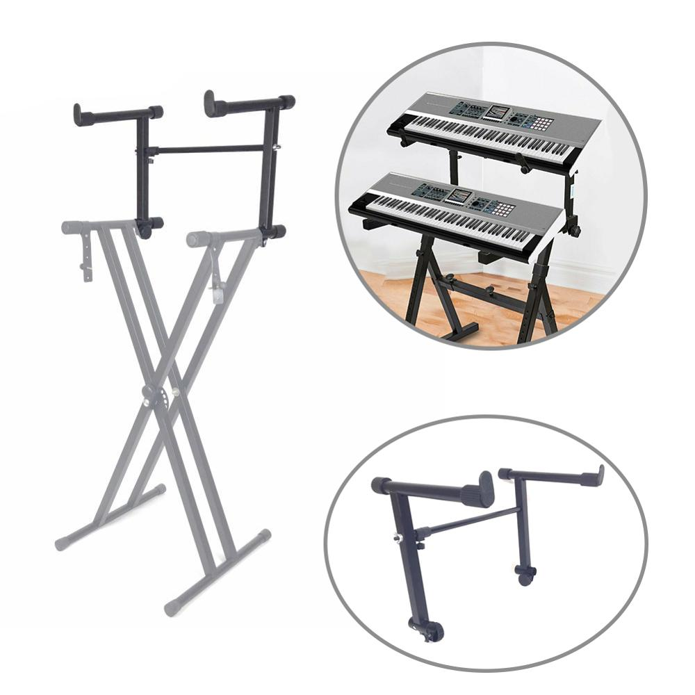 Adjustable Black Single Tube Heightening Electronic Piano Rack Stand Keyboard Instrument Support Holder Parts Accessoreis