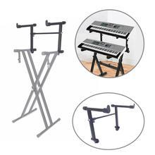 Adjustable Black Single Tube Heightening Electronic Piano Rack Stand Keyboard In