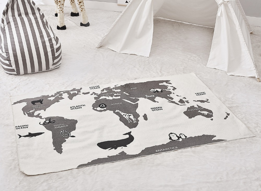 H70d9501231114e3cafdaf8bfc8d4e7d5r Kids Playing Mats Crawling Rugs World Map Blanket Educational Baby Play Mat Room Decoration Floor Decor Carpet 140*90CM